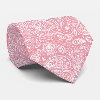 White & Pink Vintage Paisley Pattern Tie