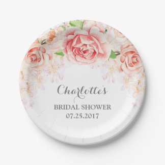 White Pink Watercolor Floral Bridal Shower Paper Plate