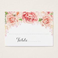 White Pink Watercolor Flowers Place Setting Cards at Zazzle