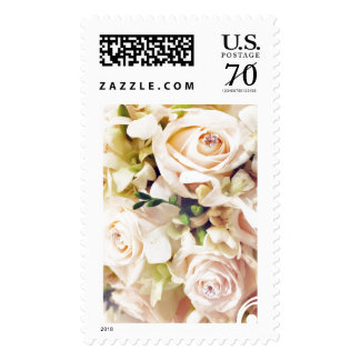 White Pink Wedding Roses Bridal Bouquet Postage