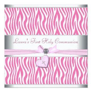 White Pink Zebra Heart Pink Cross First Communion 5.25x5.25 Square Paper Invitation Card