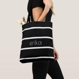 White Pinstripe Custom Color Personalized Tote Bag