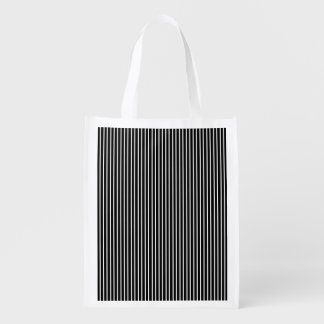 White Pinstripe Reusable Grocery Bag