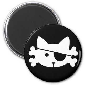 White Pirate Cat - magnet