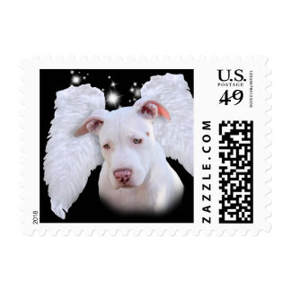 White Pit Bull Dog Angel Postage