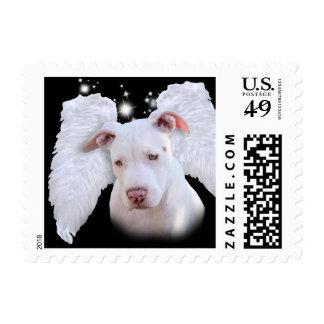 White Pit Bull Dog Angel Postage Stamp