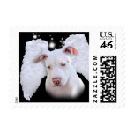 White Pit Bull Dog Angel Postage Stamps