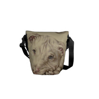 White Pit bull drawing and Blue Eyes on Messenger Messenger Bags