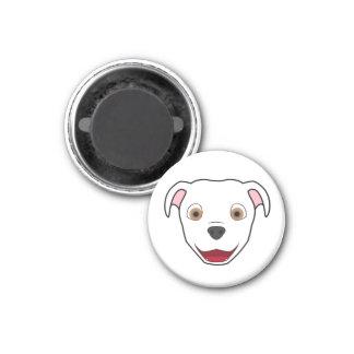 White Pitbull 1 Inch Round Magnet