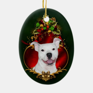White pitbull Christmas Ceramic Ornament