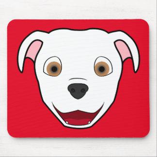 White Pitbull Face Mouse Pad