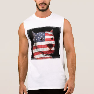 White pitbull face with American flag Sleeveless Shirts