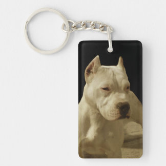White Pitbull Single-Sided Rectangular Acrylic Keychain