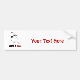 White Pitbull Puppy ADOPT-A-BULL Bumper Sticker