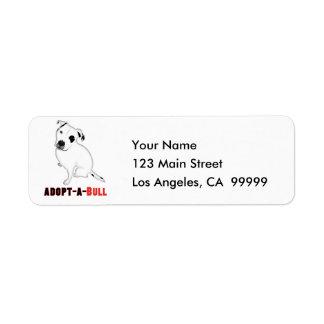 White Pitbull Puppy ADOPT-A-BULL Label