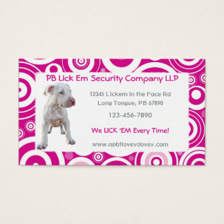 White Pitbull Puppy Business Cards