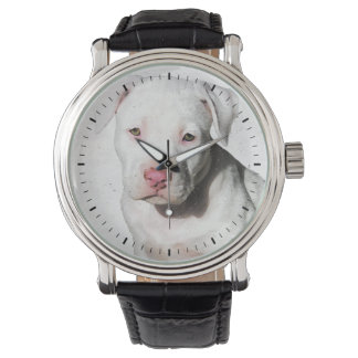 White Pitbull Puppy Watercolor Black Tick Marks Wrist Watch