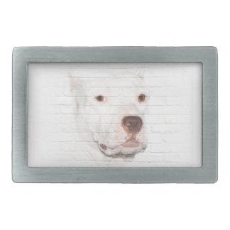 White pitbull terrier belt buckle