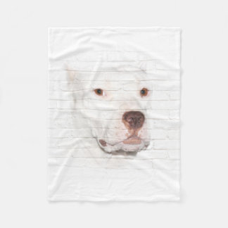 White pitbull terrier face fleece blanket