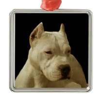 White Pitbull Terrier Metal Ornament