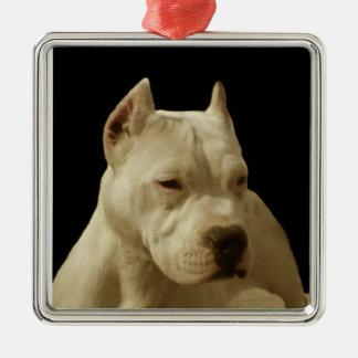 White Pitbull Terrier Square Metal Christmas Ornament