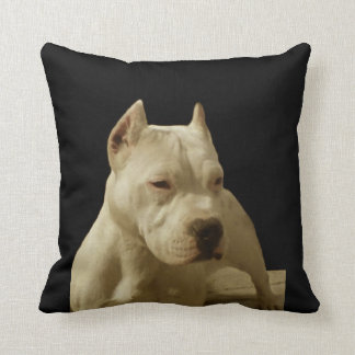 White Pitbull Terrier Throw Pillow