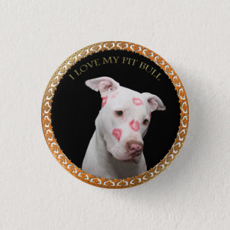 White pitbull with red kisses all over his face. button