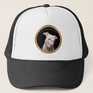White pitbull with red kisses all over his face. trucker hat