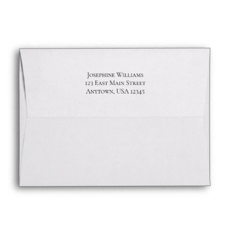 White Plain Simple A7 5x7 Return Address Envelope