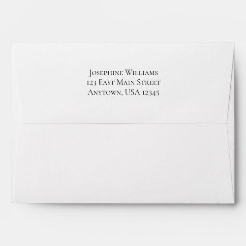 White Plain Simple A7 5x7 Return Address Envelope