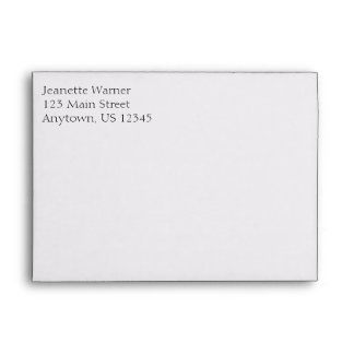 White Plain Simple A7 5x7 Return Address Envelopes