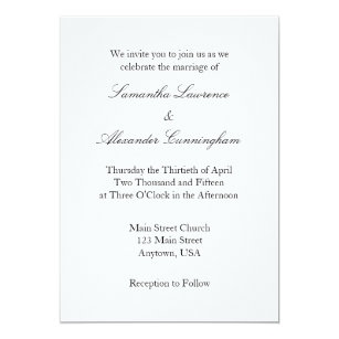 White Plain Simple Wedding Invitation