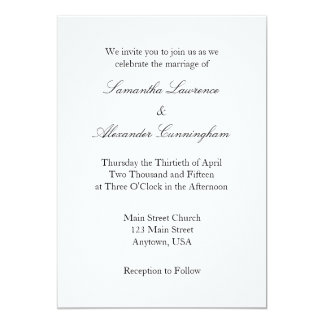white_plain_simple_wedding_invitation r6e089cde408c4e2892c80a2c92305f07_zkrqs_324?rlvnet=1 plain invitations & announcements zazzle,Plain White Invitations