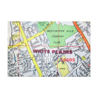 White Plains, NY Vintage Map Print
