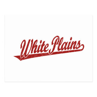 White Plains script logo in red distressed Postcard