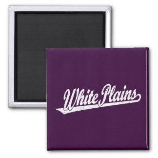 White Plains script logo in white distressed 2 Inch Square Magnet