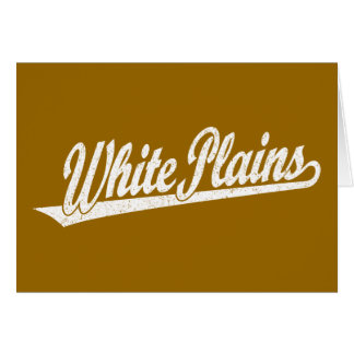 White Plains script logo in white distressed Card