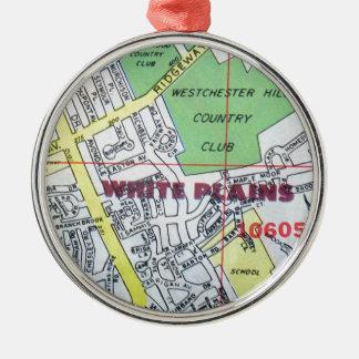 WHITE PLAINS Vintage Map Metal Ornament