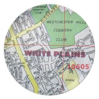 WHITE PLAINS Vintage Map Dinner Plate