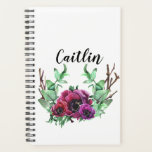 "White Planner with Flower Wreath<br><div class=""desc"">White planner with a pink flower wreath and text space for name