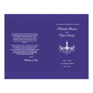 "White & Plum Chandalier wedding program half fold 8.5"" X 11"" Flyer"