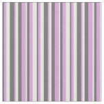 [ Thumbnail: White, Plum & Dim Gray Stripes/Lines Pattern Fabric ]