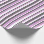 [ Thumbnail: White, Plum & Dim Gray Stripes/Lines Pattern Wrapping Paper ]