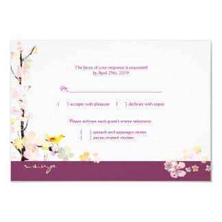 White + Plum Sakura Bird Wedding RSVP (3.5x5) 3.5x5 Paper Invitation Card