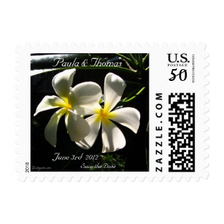 White Plumaria Wedding Postage Save the Date