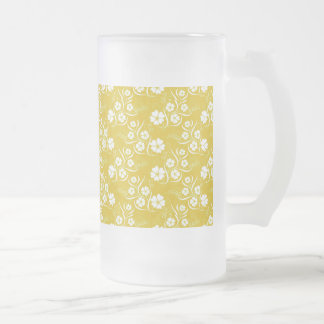 White Plumeria and Vines on Gold Frosted Glass Beer Mug