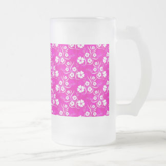 White Plumeria and Vines on Hot Pink Frosted Glass Beer Mug