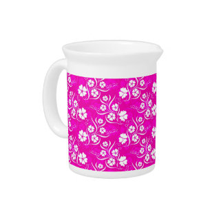 White Plumeria and Vines on Hot Pink Drink Pitchers
