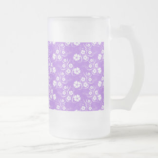 White Plumeria and Vines on Lavender Frosted Glass Beer Mug