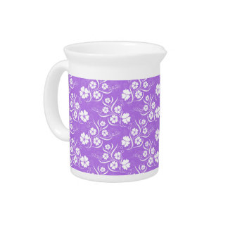 White Plumeria and Vines on Lavender Drink Pitchers
